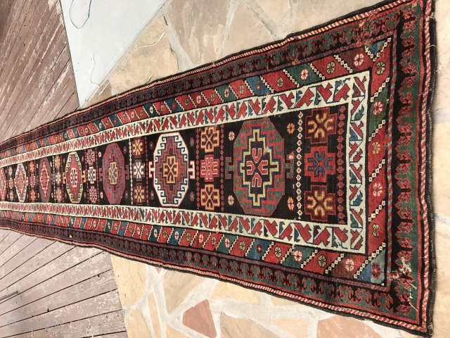 3x22.6 Antique caucasian runner rug rare 1900's 