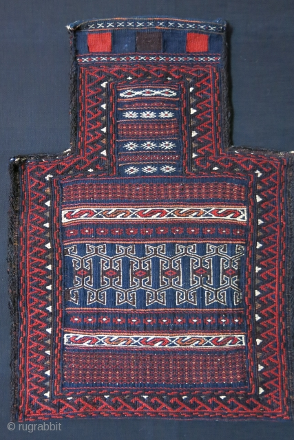 Afghanistan Baluch tribal kilim salt bag. All wool fine tight weave. Natural colors, circa 1920.