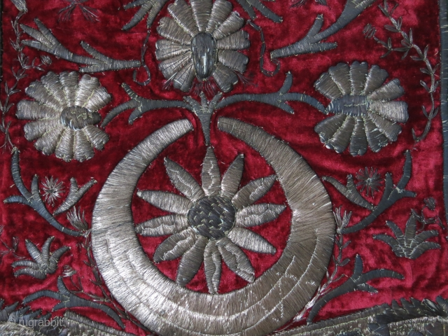 "Ottoman Saddle cover – silver embroidery on velvet and leather. It must belong to a Governor or dignitary. Ottoman star and crescent moon with blossoming flowers of 19th century. Size: 32"" X  ..."