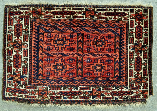 "Baluch bagface - has a few mauve silk highlights and few small old repairs - 28"" x 19"" - 71 x 48 cm."
