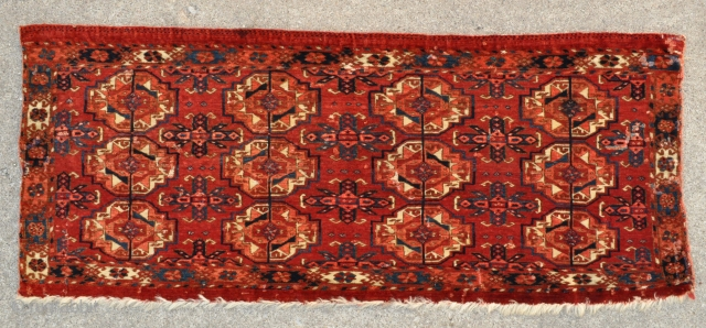 "Tekke Turkmen Trapping with 12 Guls - super tight weave, great colors and velvety wool pile - 44"" x 18"" - 112 x 46 cm."