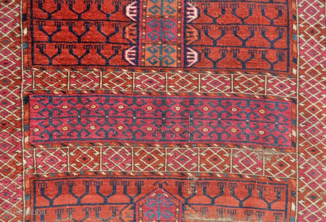 Tekke Ensi with wonderful drawing, brilliant natural colors, fine weave, many unusual early features/motifs, 19th c. - 4&#039;4 x 5&#039;4 ft. - 142 x 162 cm. no repairs done, not dirty but  ...