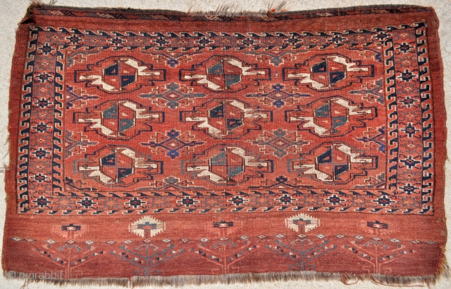 "Early Yomud Chuval with 9 large Guls, two blues, green, yellow & more , a wonderful elem, circa 1850 or before, 49"" x 31"" - 124 x 79 cm. All the colors  ..."