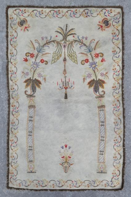 Ottoman Embroidery Prayer rug - silk and metal thread on felt - usually attributed to Bursa - 3'3 x 5'1 - 99 x 155 cm.