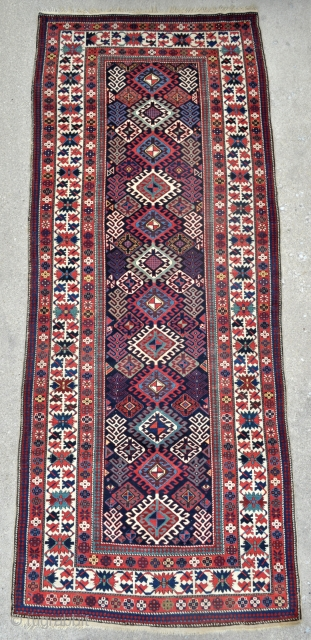 Antique Caucasian Shirvan rug in Great condition - 4'3 x 10'4 - 130 x 315 cm - see link for more pictures - http://www.yorukruggallery.com/product/antique-caucasian-shirvan-rug-43-x-104-130-x-315-cm/