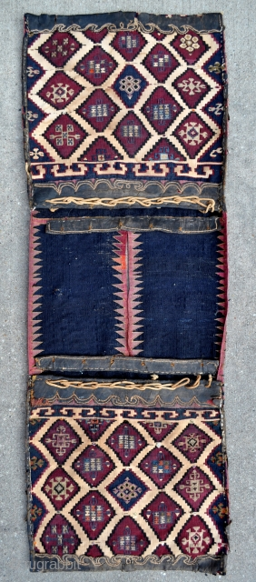 "For the Collector of Rare! Southeast Anatolian Reyhanli Saddle Bags. Has some silk highlights and some silk good luck charm knots, see close ups. - 17"" x 48"" - 44 x 122  ..."