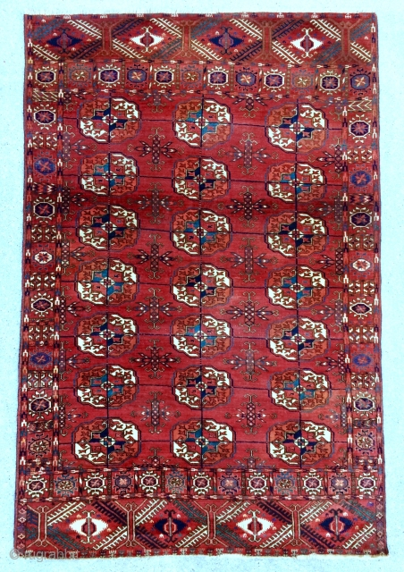 Exceptional Turkmen Tekke Rug – circa 1860-70. Small rugs like this were often woven as part of the dowry of Tekke Turkmen brides so sometimes they are called Wedding rugs. This piece  ...
