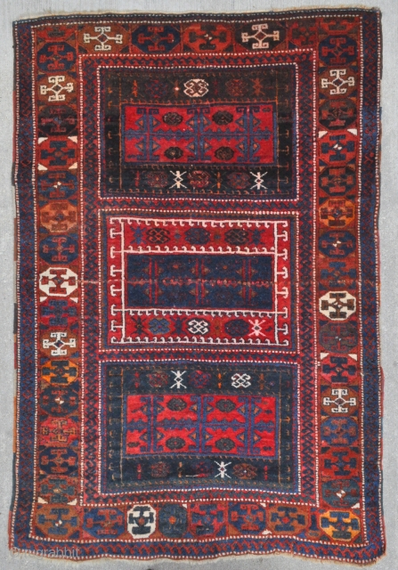 "East Anatolian ""Yoruk"" rug, may be a Yatak? - interesting angora goat knotted pile strip across the center, see close up images, some say it is a good luck charm?! Note the  ..."