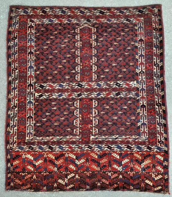 Turkmen Yomud Ensi - c. 1870 - 4'8 x 5'4 ft – 143 x 162 cm.  - Register for ARTS San Francisco - Oct 18 - 20 -  http://artsrugshow.net/register-for-the-arts-opening/