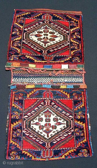 "Persian Bijar saddlebags, 21 X 83"".  Never sewn up, seem to be in off-loom condition with no wear or damage.  Probably early 20th century, but no hot or tip-faded dyes.  ..."