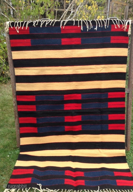 Here's a beautiful REPRODUCTION of a 2nd. Phase Navajo Chiefs Blanket.        It is woven of heavy wool on a wool foundation,  ...