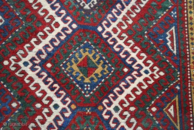 "KAZAK kelli 5'1"" x 8'10"" 19th century, rectangular, lies flat, generally good condition, richly saturated color with original selvedges."