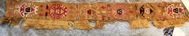 $200 chimu culture. peru. 1200 a.d. Tapestry-woven strip with warriors from a tunic made of llama wool.  a vast selection of Pre-Columbian textiles is available in all periods and qualities up to  ...