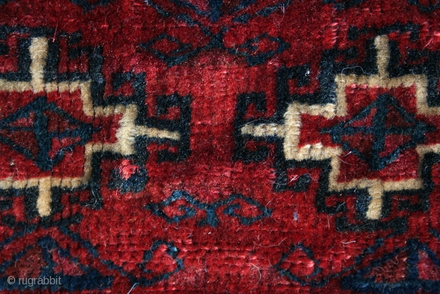 A Yomut half Khordjin bag face, probably from donkey bags, from 19th Century with nice wool, Memling Gul design, and colors in very good condition.