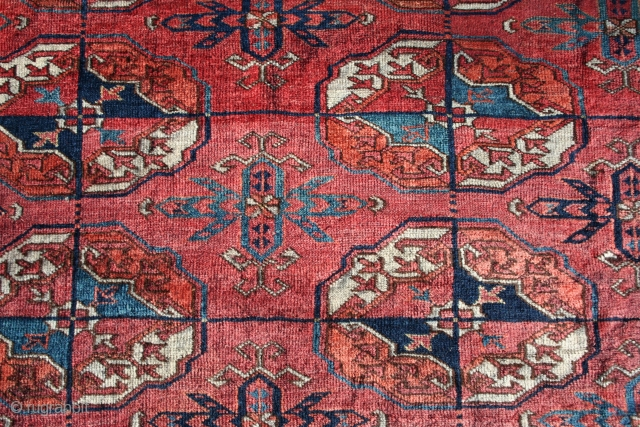 "Early Tekke Main Turkmen Carpet 6'1.5"" x 7'6.5"" with rich glossy wool, classic design with pre-waterbug stars in the border, and layout, early, deeply saturated colors that come from a small group  ..."