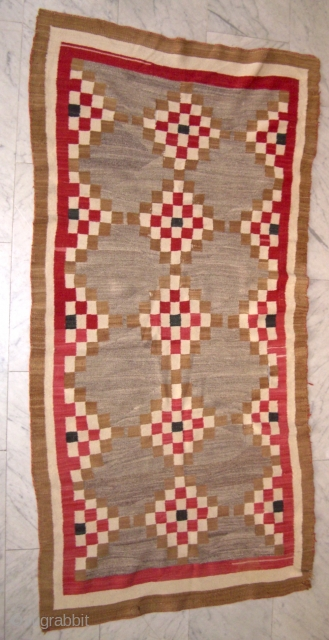 Native american flatweave wool on wool 185 x 92 cm