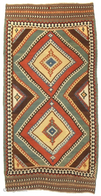 A Classical Qashqai Kilim; Southwest Persia; Late 19th century; 4-5 x 8-6 ft.