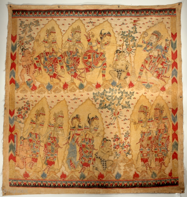 "Balinese Story Cloth. 4-9 x 4-11 ft. Early 20th Century. ""Balinese story cloths functioned as ceremonial or celebratory offerings at religious festivals and life-cycle events. At their height of production in the  ..."