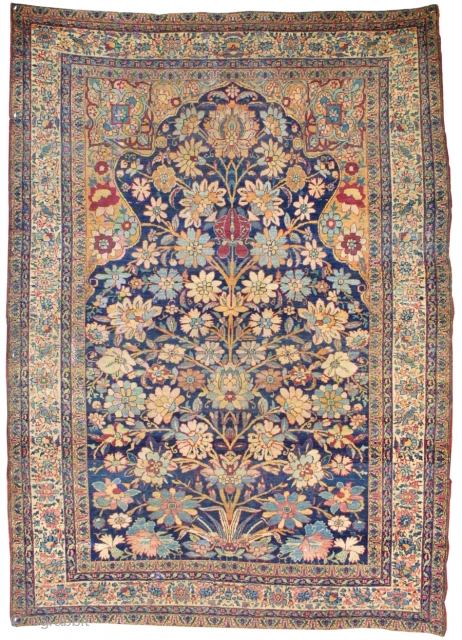 A stunning Kirmanshah Prayer rug. The size is 4'4'' x 6' ft. Woven in the early 19th century. Inventory # 4438