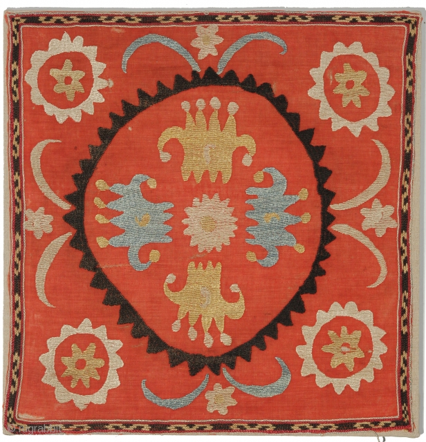 Mounted Silk Uzbek Embroidery, Second Half 19th Century, 17 x 17 inches