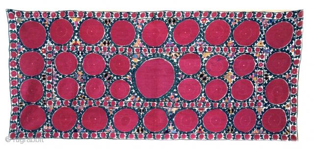 Toshkent Silk Embroidery Uzbekistan Mid.19th Century 3-2 x 7-4 ft.