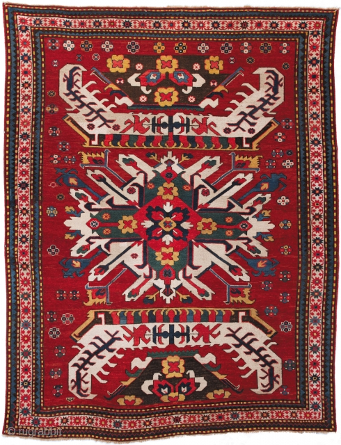 Lot 9 in our upcoming auction (OCTOBER 18th) is this beautiful Chelebard Kazak rug. South Caucasus; Second half 19th cent.; Good condition with minor re-piling in the field; 5ft. 5in. x 6ft.  ...
