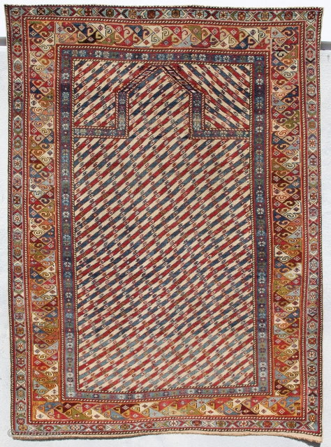 Shirvan Prayer rug; South Caucasus; Second Half 19th Century; Condition: good; 3ft. 5in. x 4ft. 8in. Please follow this link for additional images: http://www.liveauctioneers.com/item/30971388_shirvan-prayer-rug