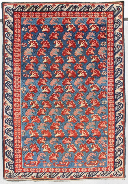 Northeast Transcaucasian Rug; Mid 19th century; Condition: excellent; 3ft. 4in. x 4ft. 10in.  Auction this Saturday, October 18th and 11am. Please follow this link for additional images and estimates:  http://www.liveauctioneers.com/item/30971394_northeast-transcaucasian-rug  We will also be  ...