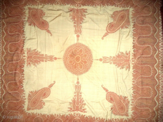 Kashmir shawl (hand embroidered borders), mid-nineteenth century