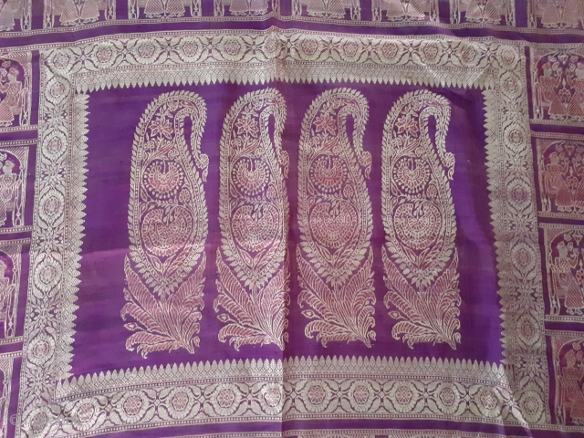 Antique Indian balucha saree from west Bengal, India, circa 19c