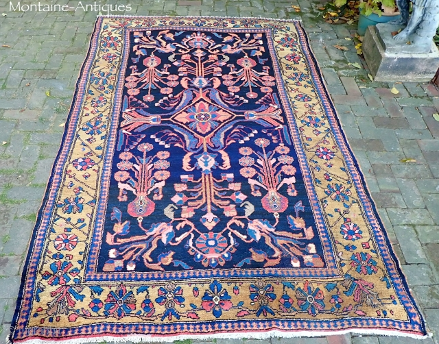 Carpet Size Mehriban c. 1915--5.6 x 9 ft Artistic open composition with rare gold border. Rare to find Hamadan  pieces in carpet sizes. Natural dyes with no paint. Thick and plush allover.  ...