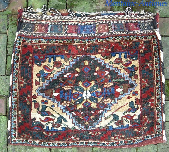 Large bag. 30 x 26 Genuinely old Persian piece of uncertain  origin. Maybe South. Double wefted on wool foundation. Thick. Plush. Floppy.  Minty. $20 UPS to lower 48
