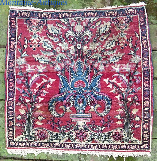 Old super-fine Pushti.  21 x 22 inches. Genuinely old Persian piece of uncertain about origin and I won't hazard a guess. Double wefted (one blue) on cotton foundation. Actual knot count  ...