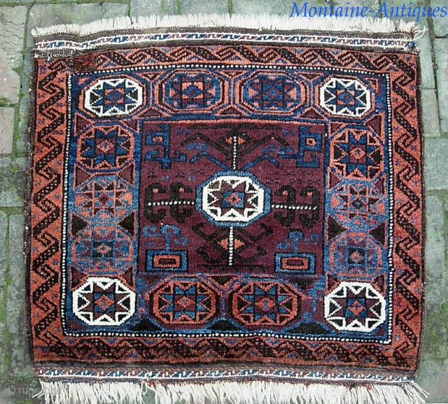 Baluch --21 x 29 inches. larger piece with fine wool and nice colors. We have just posted 40 nice fresh pieces on the web site: www.montaine-antiques.com.