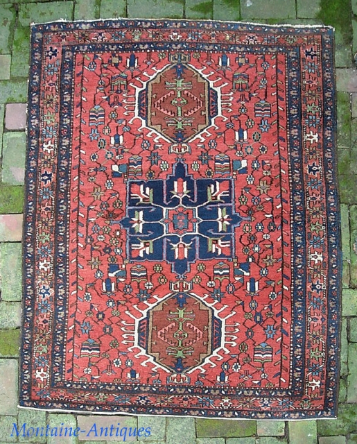 Heriz--3 ft 9 x 5 ft. As nice as I have ever seen. Exceptionally fine weave. Fantastic condition.  We have just posted 40 nice fresh pieces on the web site: www.montaine-antiques.com.
