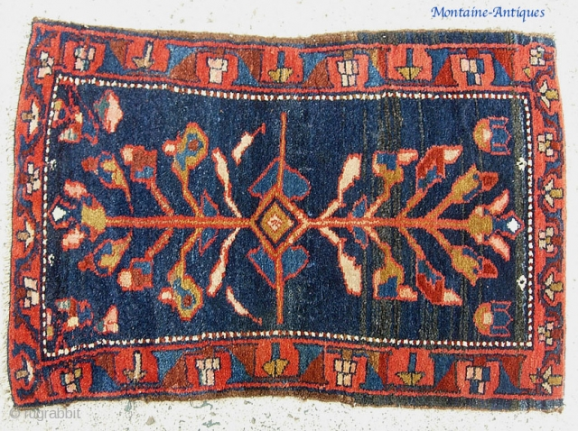 Rare Bahktiari Pushti, 2.3 ft x 2.4. Circa 1880. Foundation is  wool;  spots of white pile is cotton.  This is the most luscous, thick old meat-pile thing.