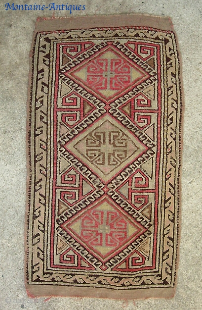 Anatolian Yastik-- 1 ft 7 by 3 ft. 3 Inches. early one. w/ even pile