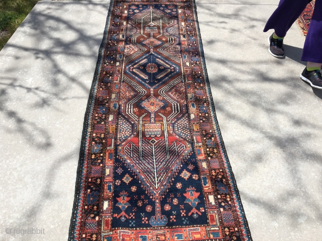 """Vintage NW Persian runner measuring 3'x 9'2"""" in very good condition.  Rug was found with fabric sewn over fringe.  Needs a cleaning.  Thanks!"""