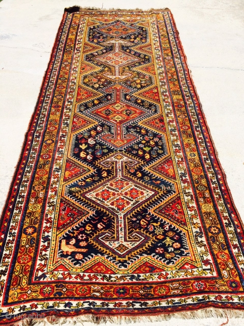 """Old southern Iranian runner measuring 4'6""""x 11'5"""" in good condition!  Thanks!"""