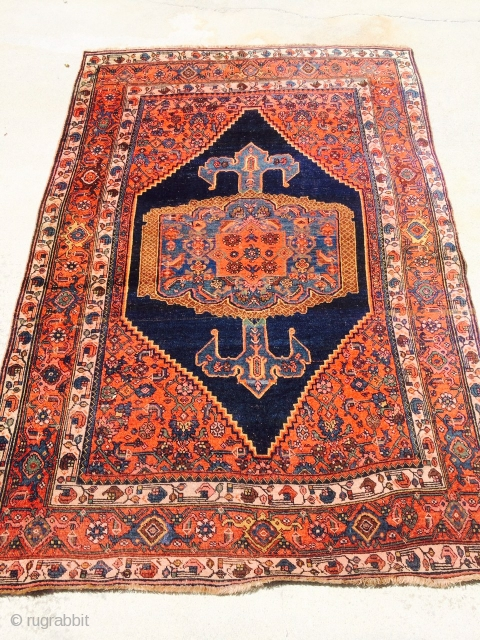 """old bijar not to be confused with a similar looking one I also have for sale on rugrabbit.  This one measures 4'5""""x 6'5"""" and has been in a water flood, has  ..."""
