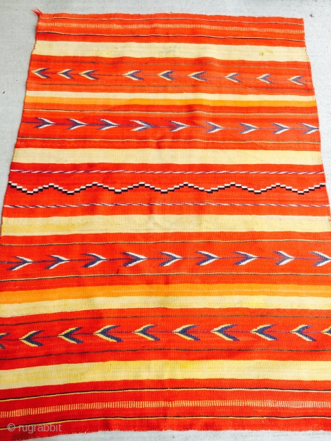 """As found: 1890's to 1910 transitional Navajo rug measuring 4'11""""x 3'7"""" in good condition.  More pics available upon request as well as condition report.  Thanks."""