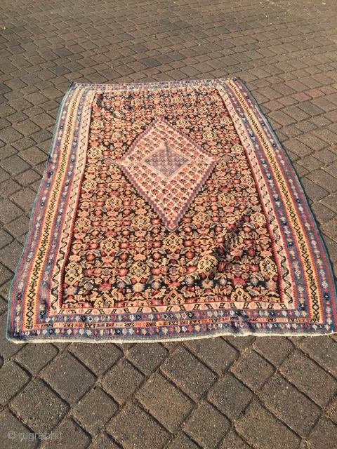 "Old NW Persian Kilim in excellent condition measuring 4'x 6'8"".  Thanks..."