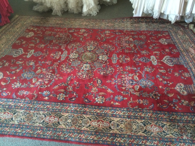 """An early 20th century (1930's) Atiyeh Bros Kirman measuring just shy of 8'6""""x 11'5"""", very fine weave, great wool, nice supple handle, has 4-6 small area's of wear down to the foundation  ..."""