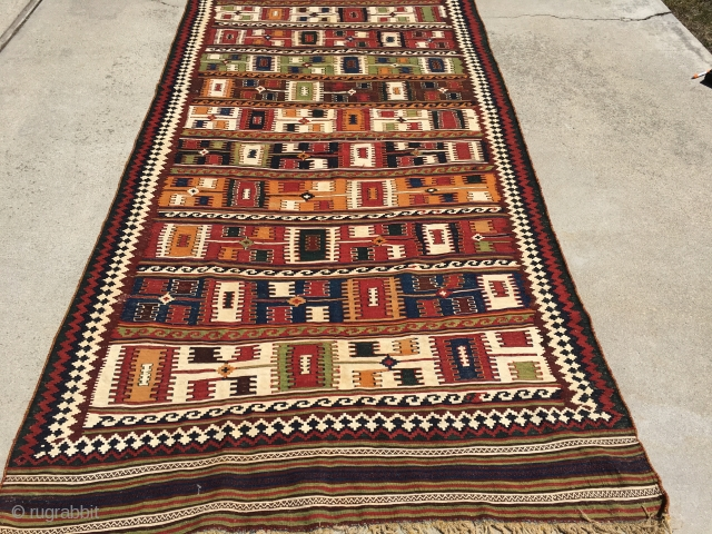 Nice semi-antique Ghashghai Kilim for a reasonable price.
