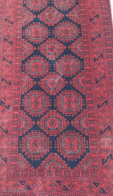 Old Turkmen marchak runner with natural vegetable dyes from north Afghanistan. Size 375x82 cm