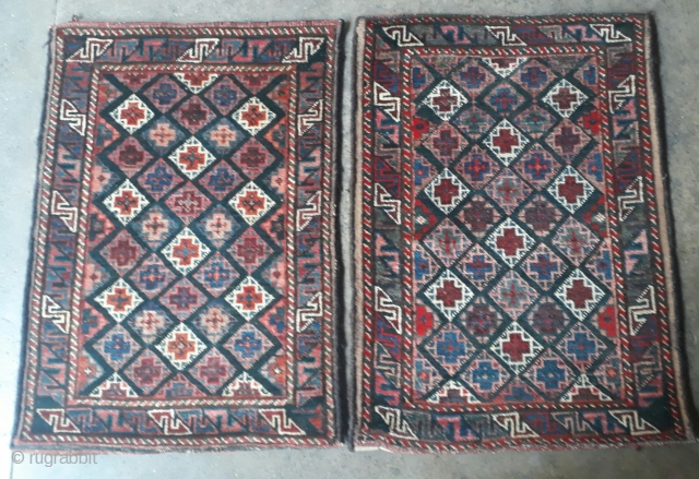 Pair of antique balochi balishts with vegetable dyes and very rich colors. Each size 80x56 cm