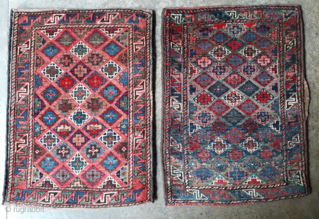 Pair of antique balochi balishts with vegetable dyes and very rich colors. Each size 77x55 cm