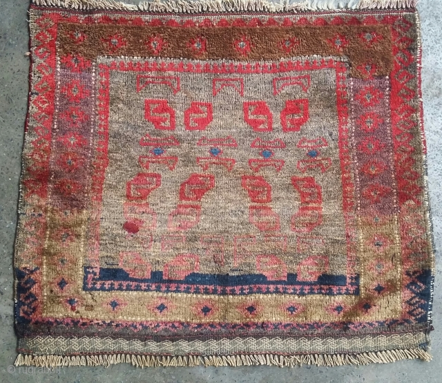 Old small balochi with unusual design. Size62x52 cm