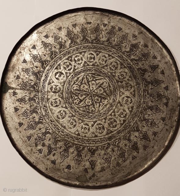 Ottoman copper coffee tray 19th century diameter 32 cm