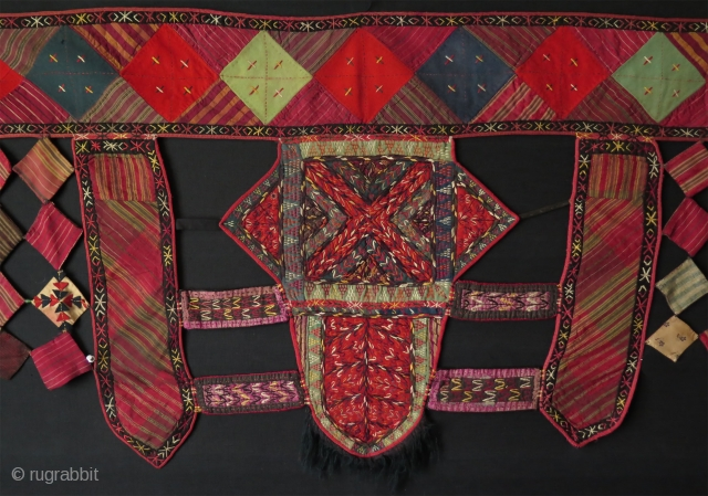 "Turkmen Yomud camel trapping fragment. All fine silk embroidery. Size: 23.5"" x 60"" - 60 cm x 152 cm."
